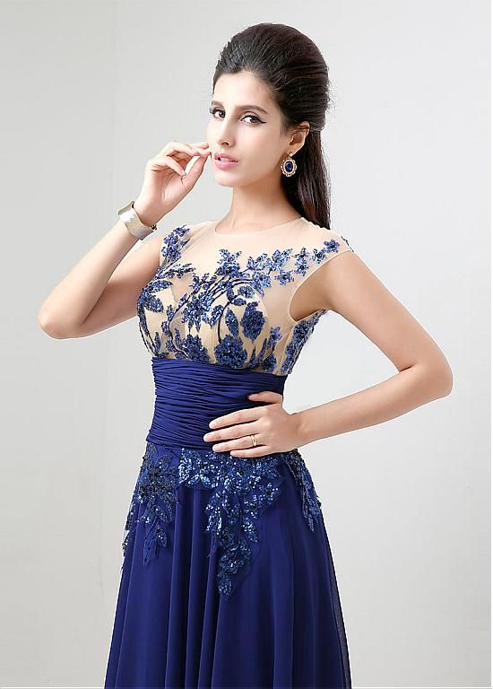 In Stock Marvelous Chiffon Jewel Neckline Floor-length A-line Prom Dresses With Sequin Lace Appliques