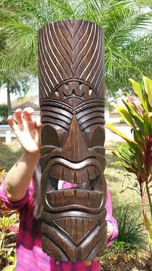 """39.5/"""" Handcarved Natural Style Three Face Wood Tiki Mask with Unique Design!"""