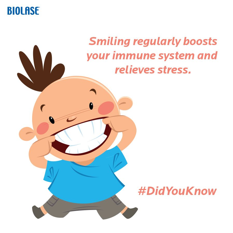 #DidYouKnow: Smiling regularly boosts your #immune system and relieves #stress. Read more: http://blog.biolase.com/waterlase/dont-forget-to-smile-12-reasons-why #biolase #WaterLase #Dentaltips