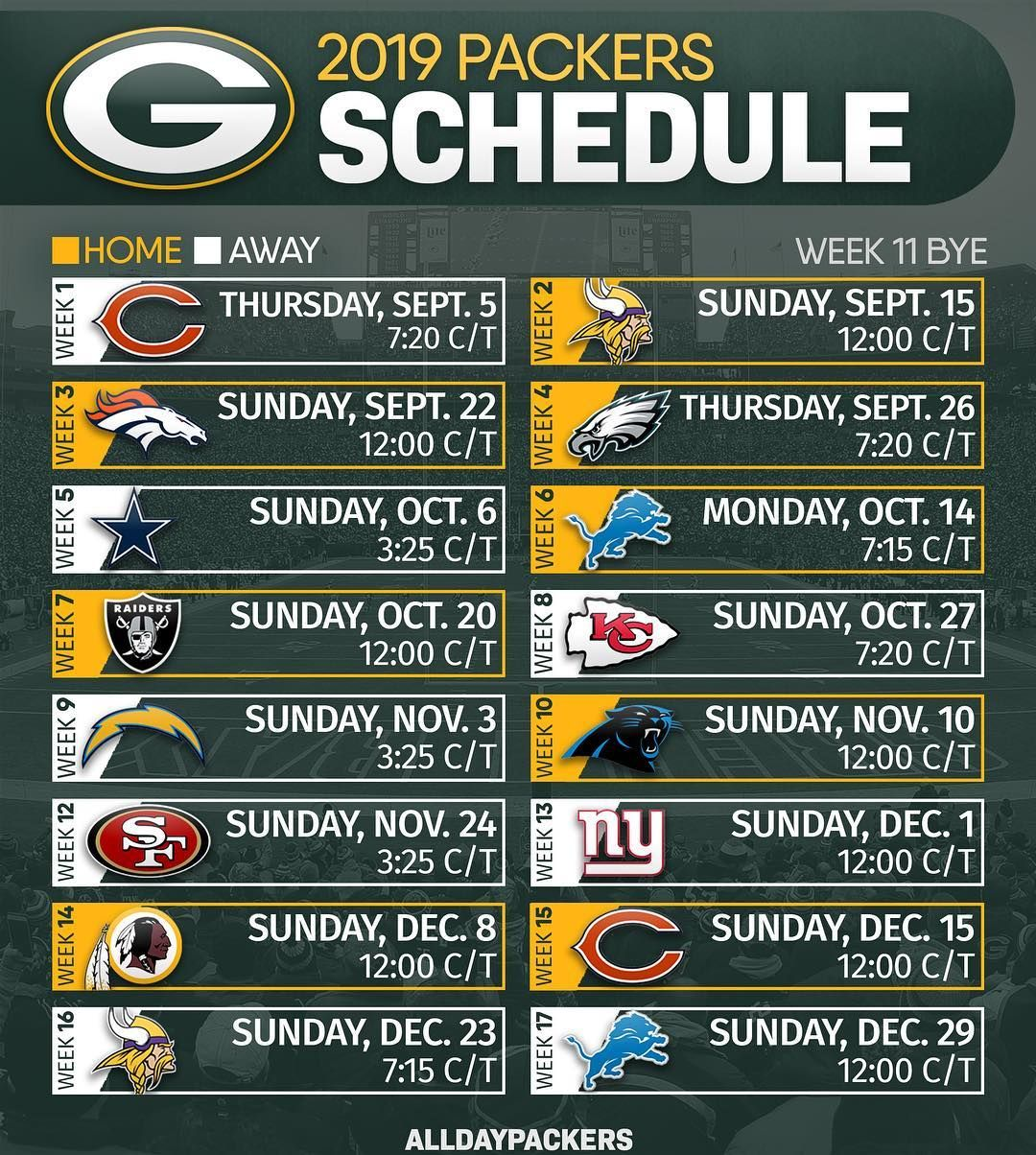 Green Bay Packers Coverage On Instagram The Official 2019 Schedule Has Been Released Early Rec Green Bay Packers Green Bay Packers Football Packers Schedule