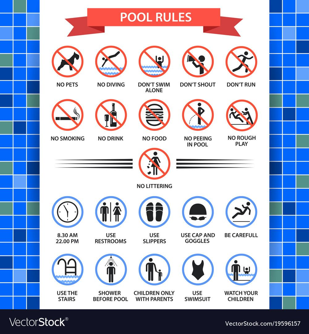 Pool Rules Poster Swimming Pool Safety Inspectors Guide Rules Of Conduct And Instructions Vector Flat St Pool Rules Swimming Pool Safety Swimming Pool Rules