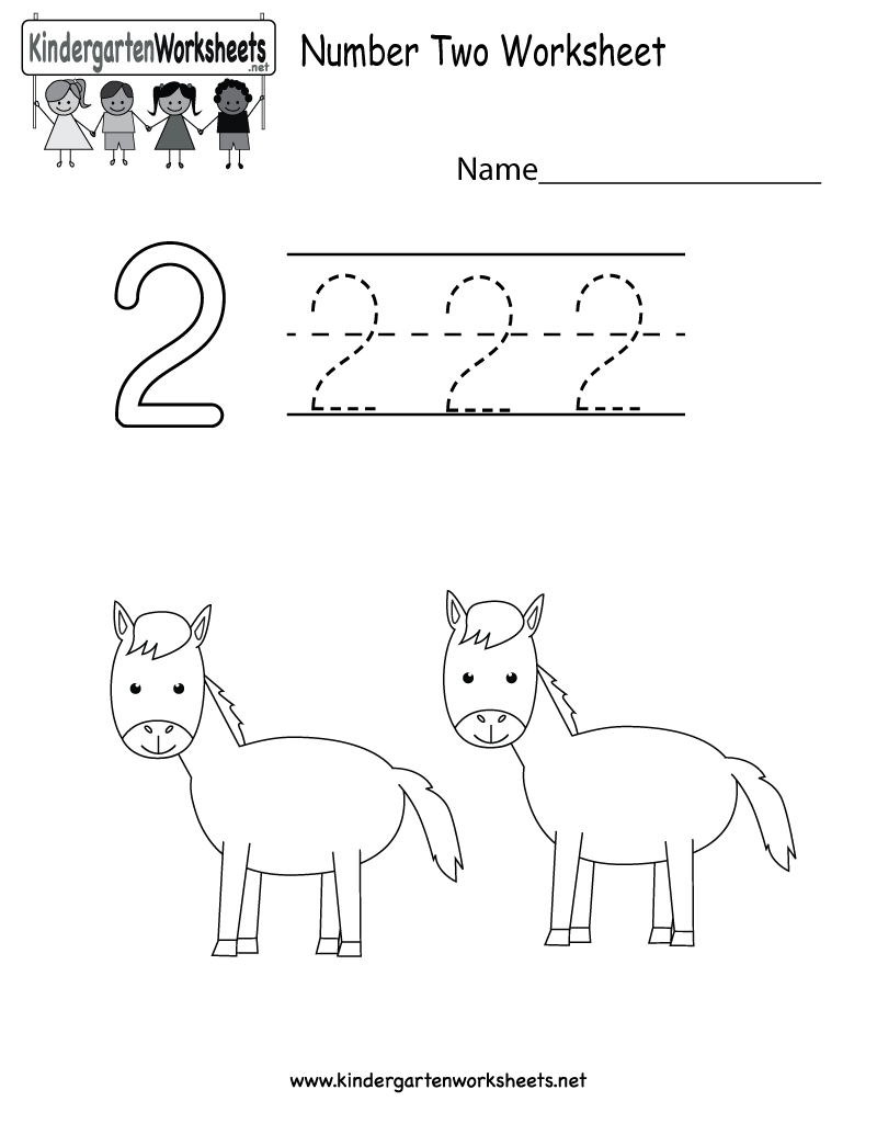 Kindergarten Number Two Worksheet Printable | Kindergarten ...