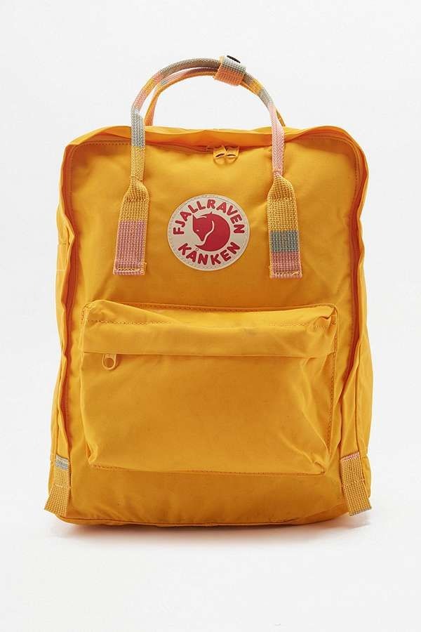 Slide View: 1: Fjallraven Kanken Sac à dos rayé jaune avec