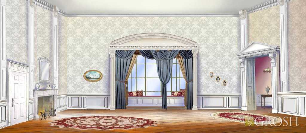 Cream-colored Victorian Parlor with alcove, blue drapery, antique rugs and wooden floor.
