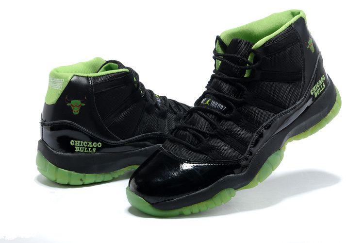 Latest AAA+ Air Jordan 11 Chicago Bulls Black/Green from www.dragonkicks.us