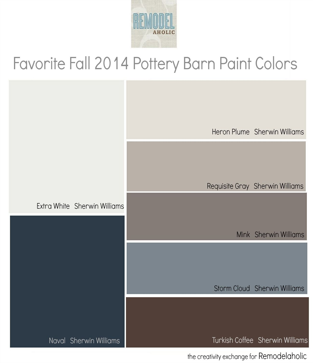 Favorites From The Fall 2014 Pottery Barn Paint Color Collection Remodelaholic Com Pottery Barn Paint Colors Pottery Barn Paint Foyer Paint Colors