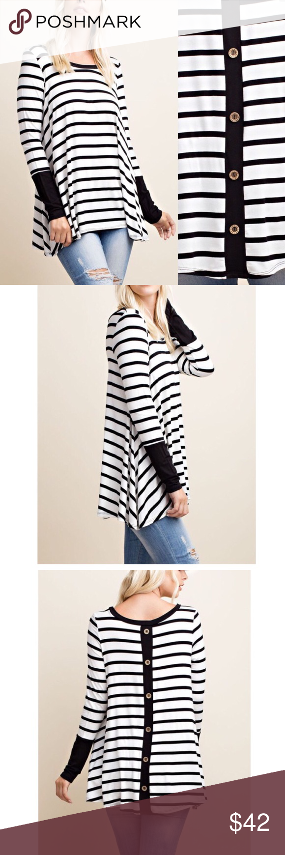 "🆕 ARRIVAL! Long sleeve stripe back buttoned top Super comfy Long sleeve stripe top Solid patterns on the wrist Cute back buttons Round neck  MADE IN U.S.A Material: 95% Rayon,5% spandex Easy to wear, Very comfy A great top to wear under hoodies, jackets, vests. Pair it with distressed jeans and booties or leggings and boots.   Measurements:  Small: Size 2/4 Armpit to Armpit: 19.5"" Length: 28.5""  Medium: Size 6/8 Armpit to Armpit: 20.5"" Length: 28.5""  Large: Size 10/12 Armpit to Armpit…"