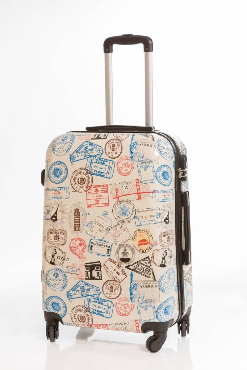 Maleta pasaportes mediana dura de 4 ruedas con un for Maletas grandes baratas