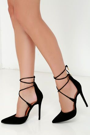a2687f84f20 Your rise to stardom begins with signature looks like the Leading Role Black  Suede Lace-Up Heels! Soft vegan suede composes a split