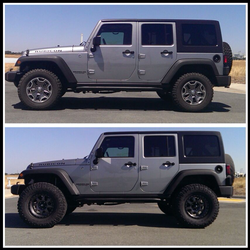 Before After Evo Mfg 1 5 Hd Leveling Kit Got An Hour Get A Lift Great Lift To Help Clear 33 Tires 35 With Flat Fenders O Jeep Guys Jeep Parts