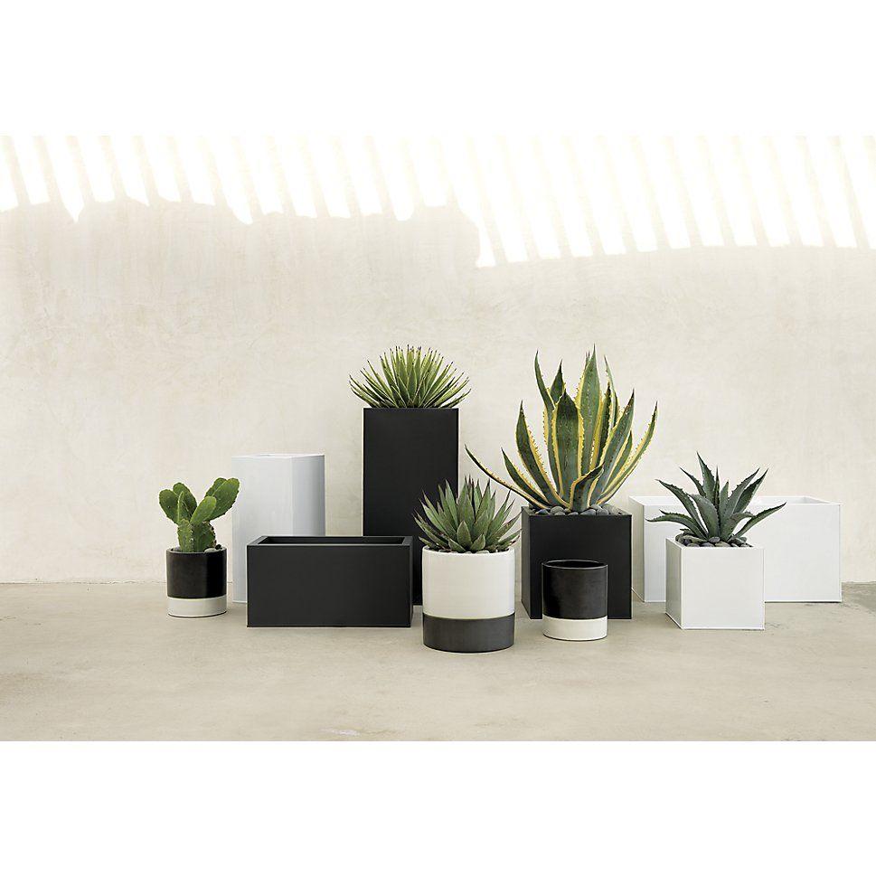 Blox Large Square Galvanized Charcoal Planter White 400 x 300