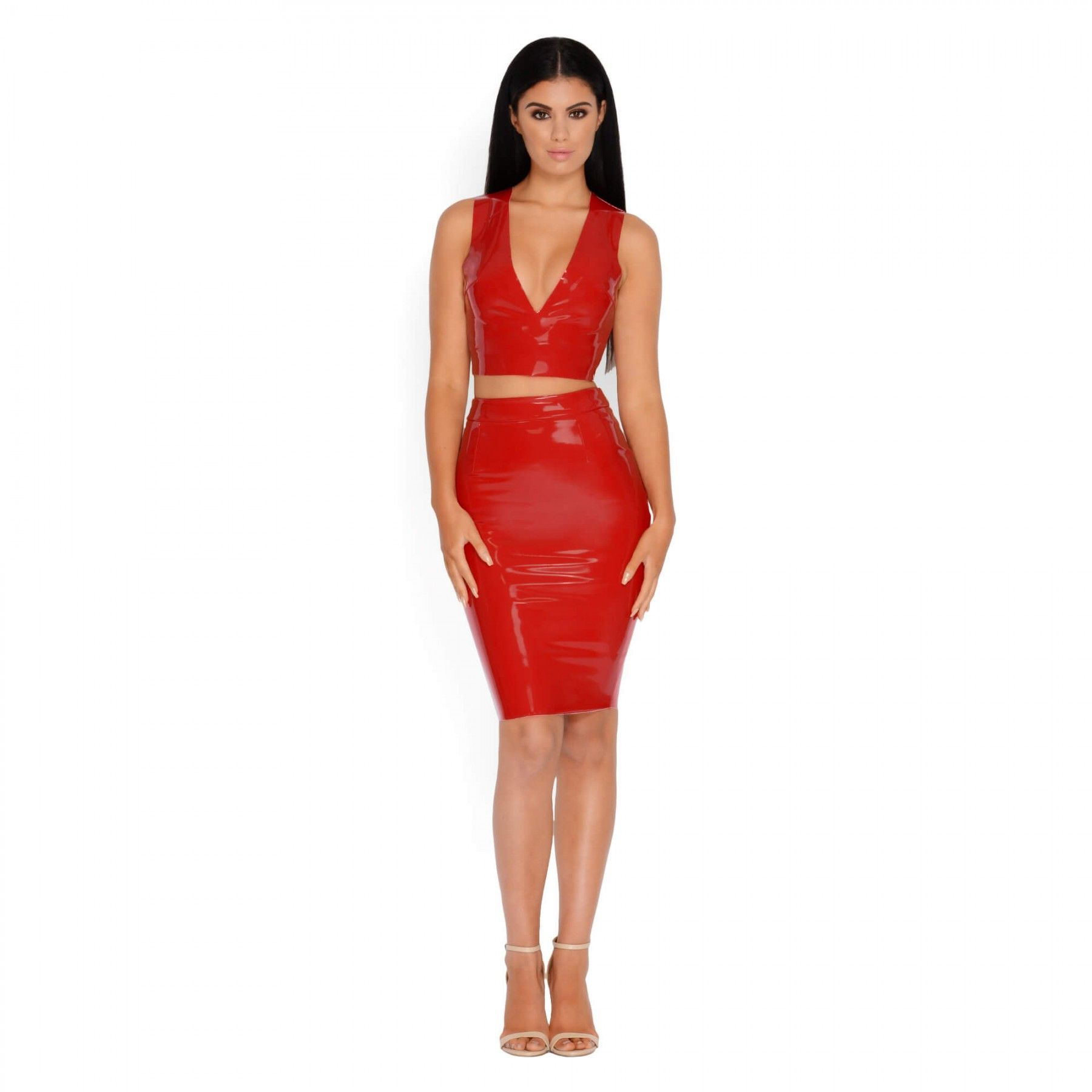 c08d4186f Red Vinyl Two Piece Set | Oh Polly Co - Ords | Closet | Dresses ...