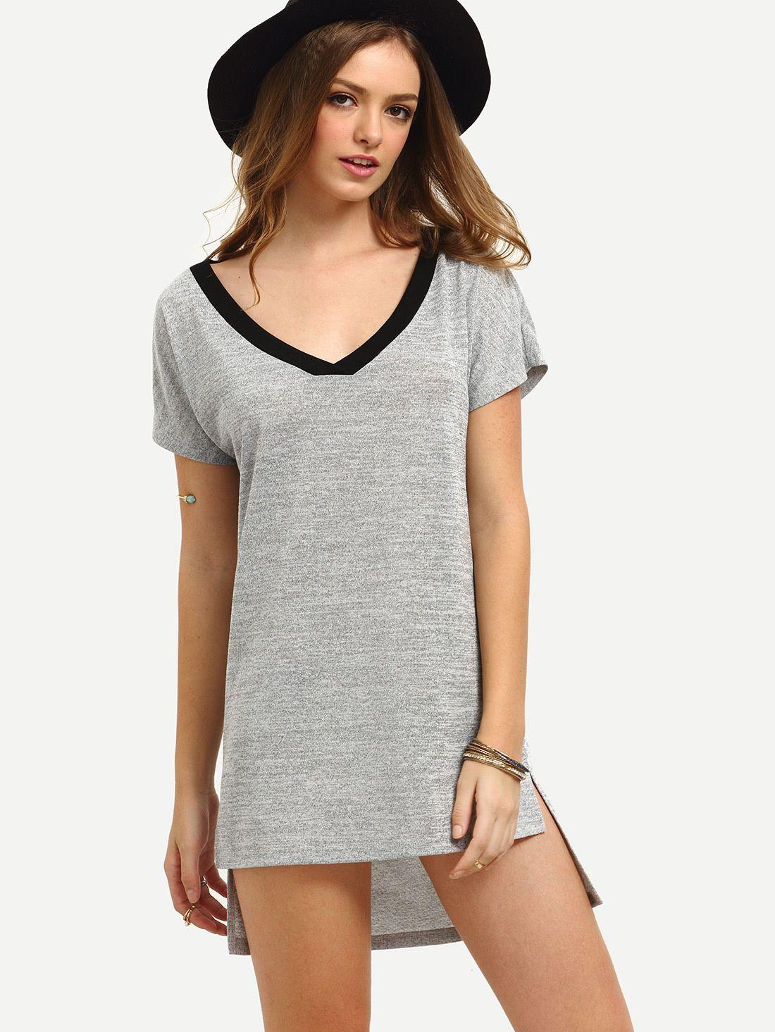 Cómpralo ya grey short sleeve high low shift dress grey casual