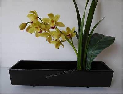 Japanese Ikebana Vase 155l Narrow Black Rectangle Shape Ceramic
