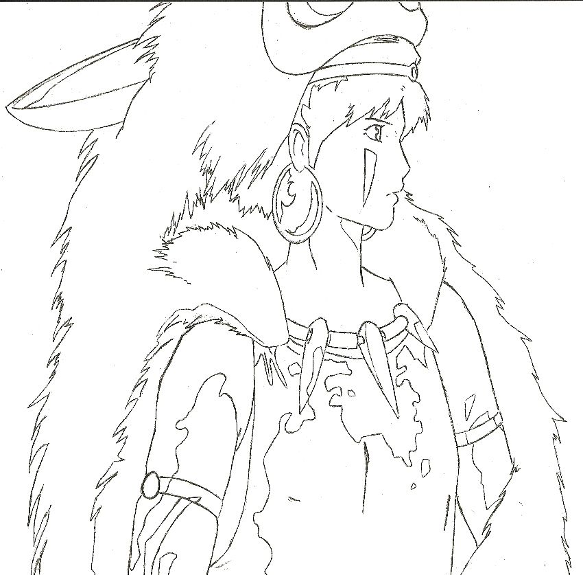 Princess Mononoke San Coloring Page Princess Mononoke Princess