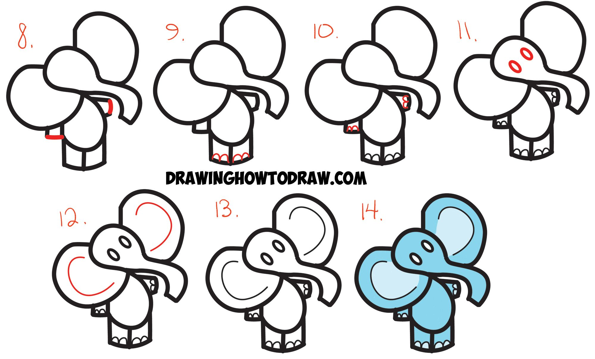 Uncategorized Easy Step By Step Drawing learn how to draw cute cartoon elephant from the dollar sign simple steps drawing lesson