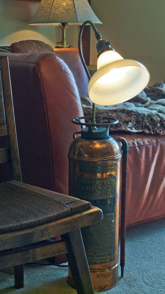 Antique fire extinguisher floor lamp no 2 upcycled ooak for Muebles industriales metal baratos