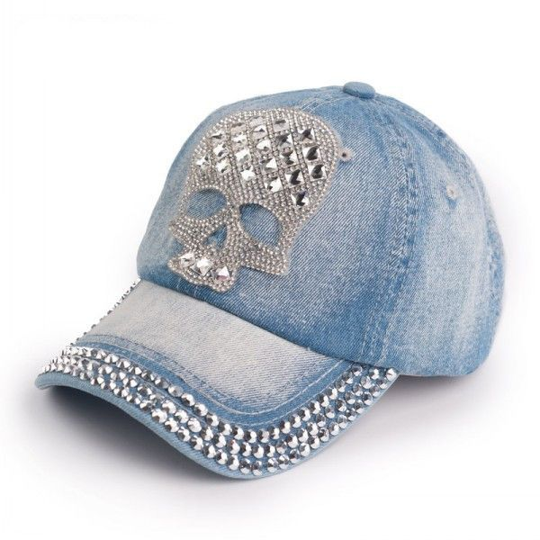 Hot Sale 2015 Spring Baseball Caps Female Skull Pattern Rhinestone Denim  Caps Snapback Women Baseball Hats High Quality 90ccfe934523