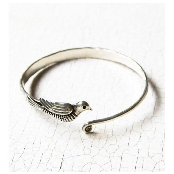Dove Bird Open Front Bangle Bracelet (44 CAD) ❤ liked on Polyvore featuring jewelry, bracelets, bracelets & bangles, bird jewelry, hinged bangle, bangle bracelet and bangle jewelry