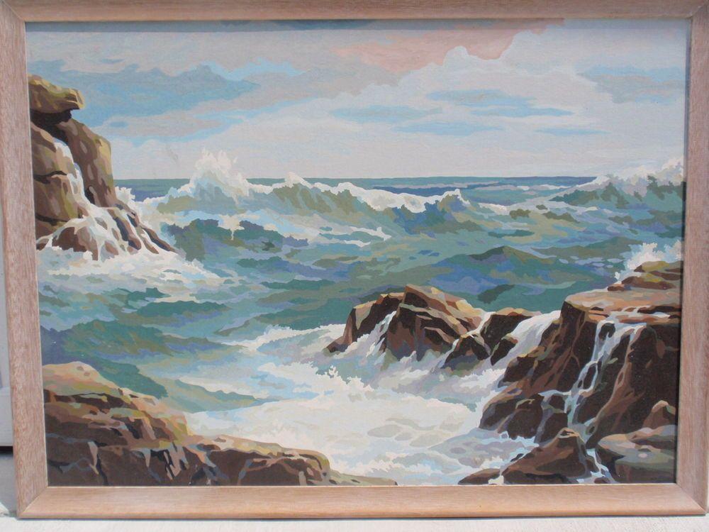 Vintage Paint By Number Pbn Seascape Scene Large 36 X 26 Wood Frame Beachy Rocks Painting Vintage Painting Art