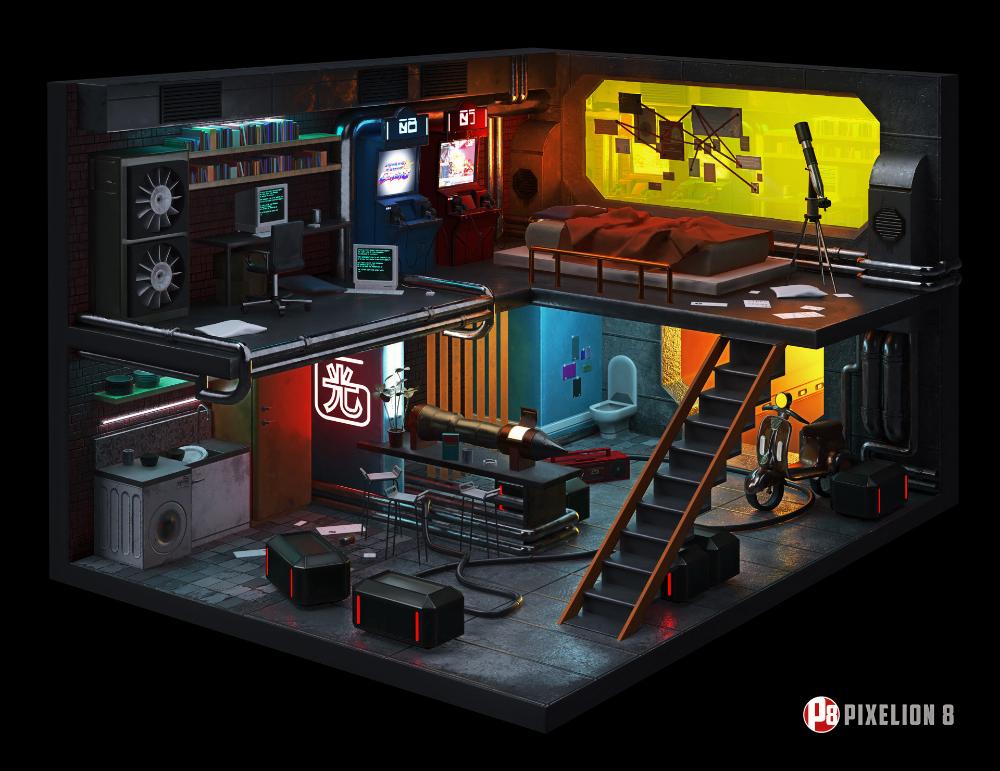 ArtStation Cyberpunk Room real time, Pixelion 8 in 2020