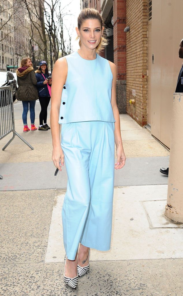 Ashley Greene from The Big Picture: Today's Hot Pics  The Twilight alum sports a powdered blue lookwith stripedshoes in NYC.