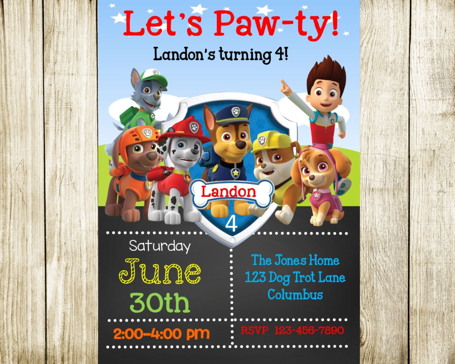 Paw Patrol Birthday Invitation Invite Printable FREE SHIPPING