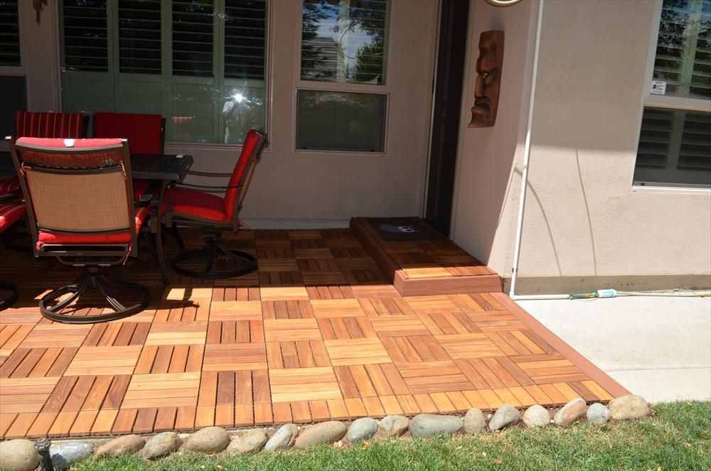Builddirect Interlocking Deck Tiles Wood Copacabana Ipe Champagne Outdoor View