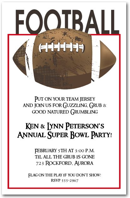 Football grunge party invitations super bowl invitations for Super bowl party invitation template