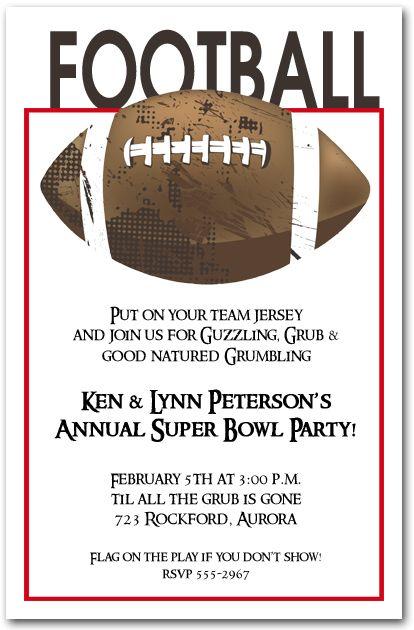 Football Grunge Party Invitations Super Bowl Invitations