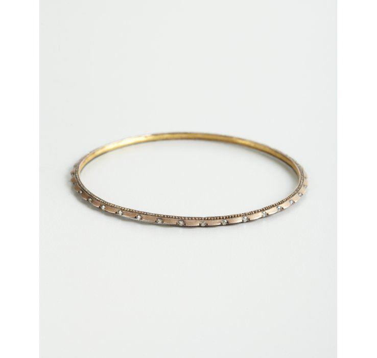 Gurhan gold and diamond 'Capitone' pointed edge bangle