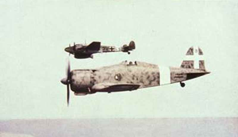 Italian Fiat G 50 fighter together with a German Messerschmitt Bf 110.