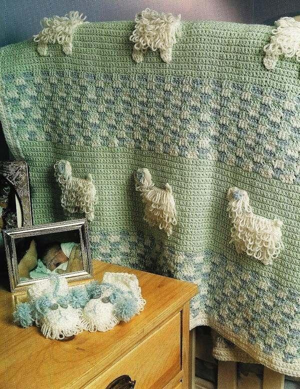 X167 Crochet PATTERN ONLY Loopy Lambs Blanket & Booties Pattern.