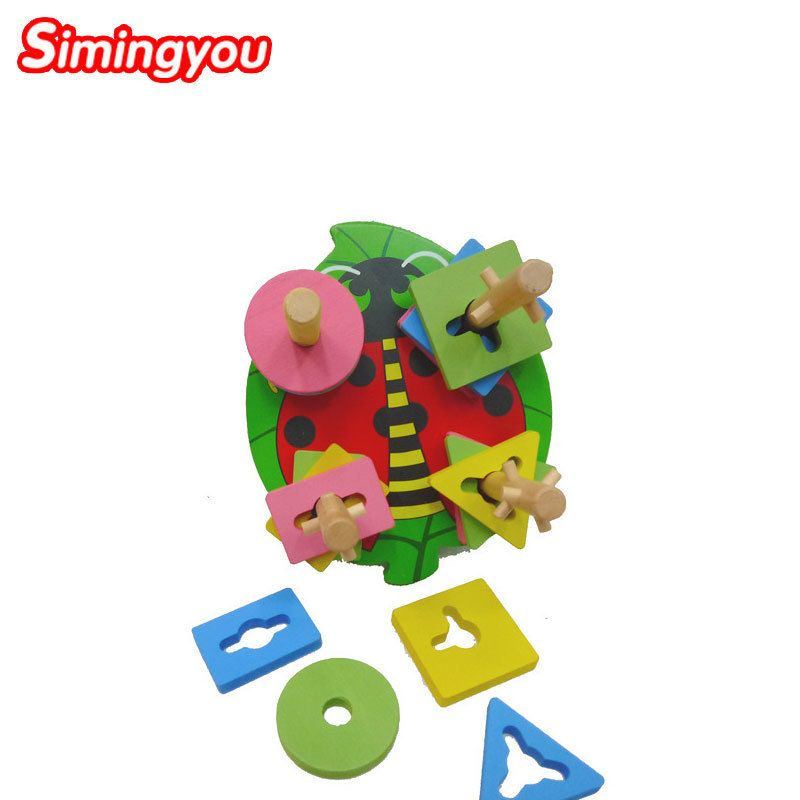 Simingyou Learning Education Beetle Geometry Four Post Columns Montessori Educational Wooden Toys B40-A-55 Drop Shipping #Affiliate