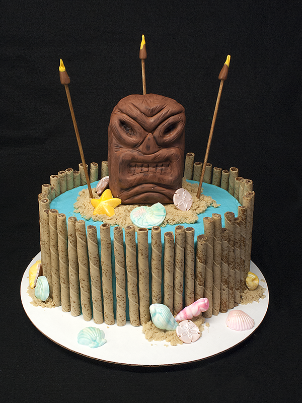 Brilliant Tiki Birthday Cake The Tiki God Is Made From Rice Krispie And Funny Birthday Cards Online Elaedamsfinfo