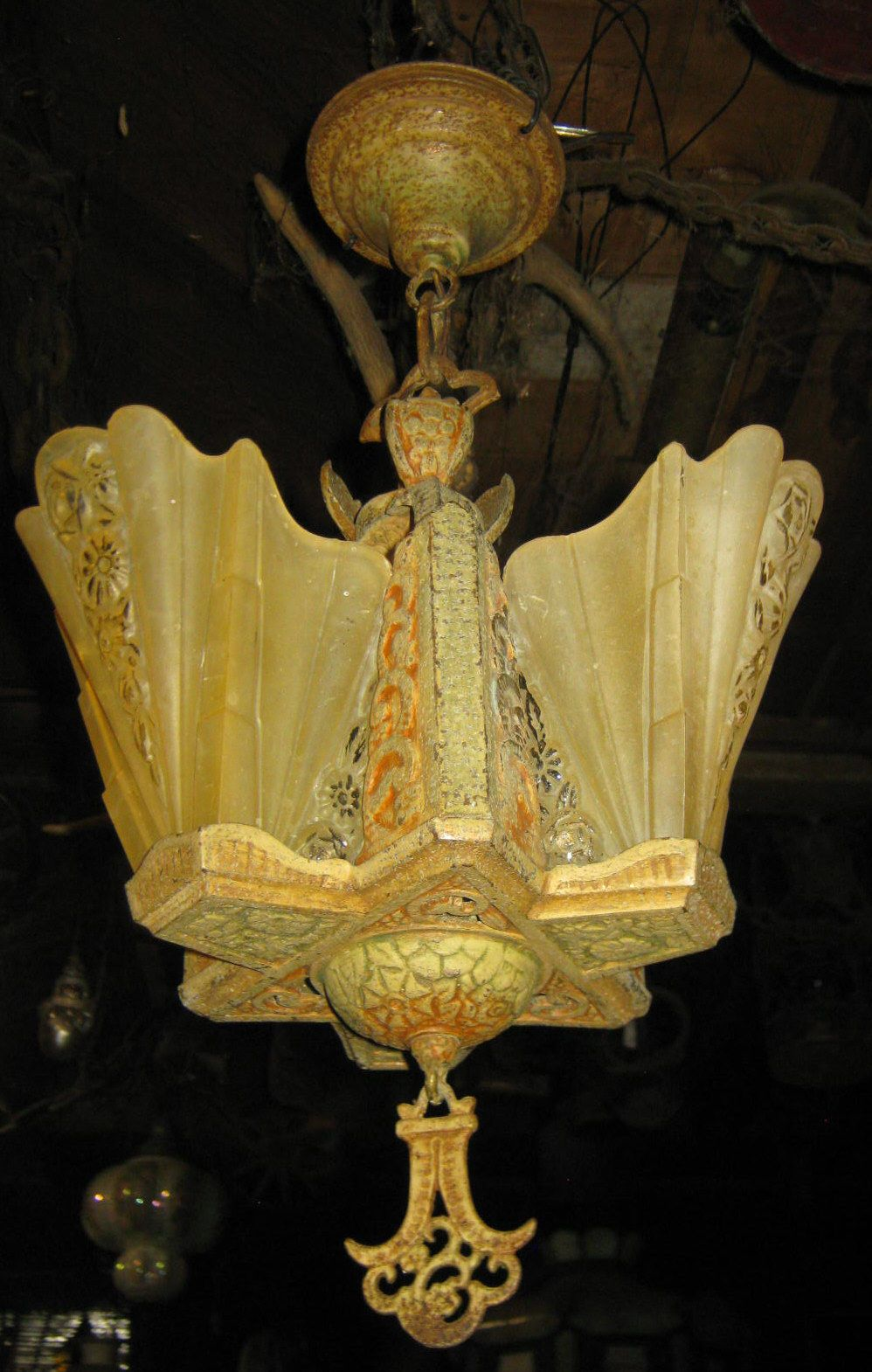 Antique architectural art deco chandelier lamp glass slip shade ...