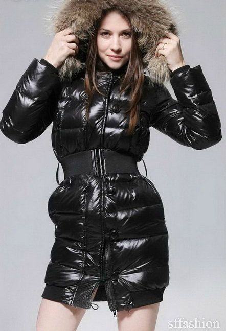 Black fur-hooded down coat | Fashion | Jackets, Down coat ...