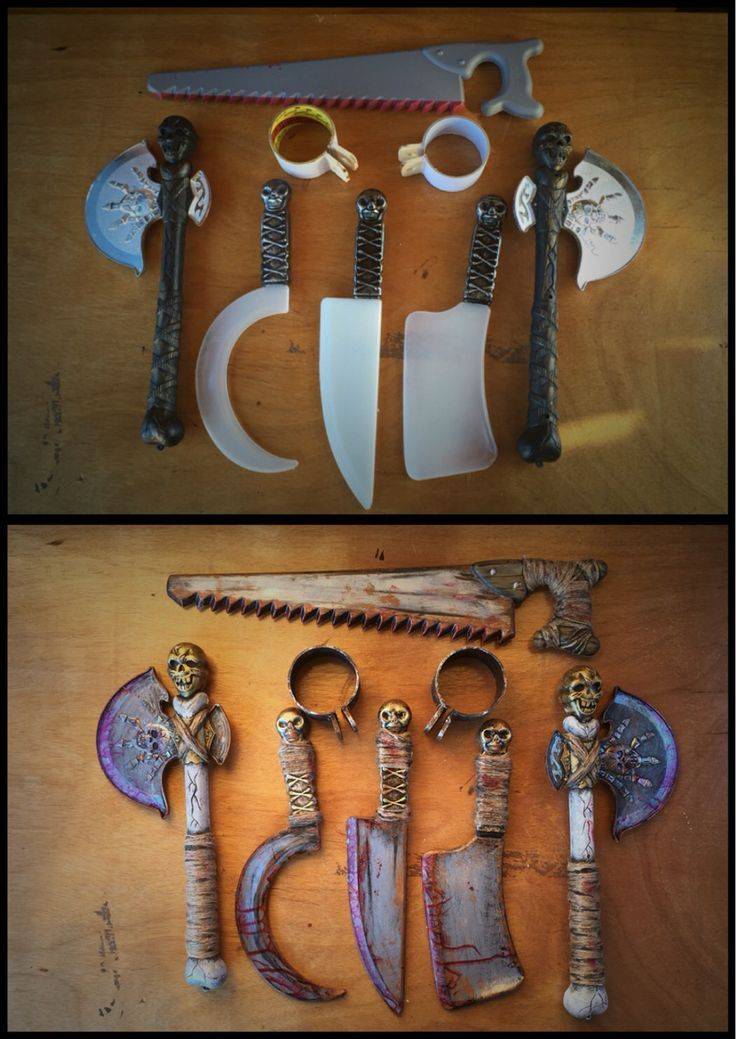 DIY Halloween weapons. Cheap plastic weapons with twine and ...