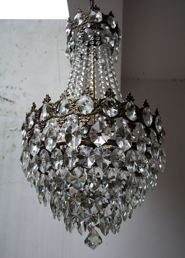 Antique chandelier - Antique French Basket Style Brass & Crystals Chandelier From 1950's