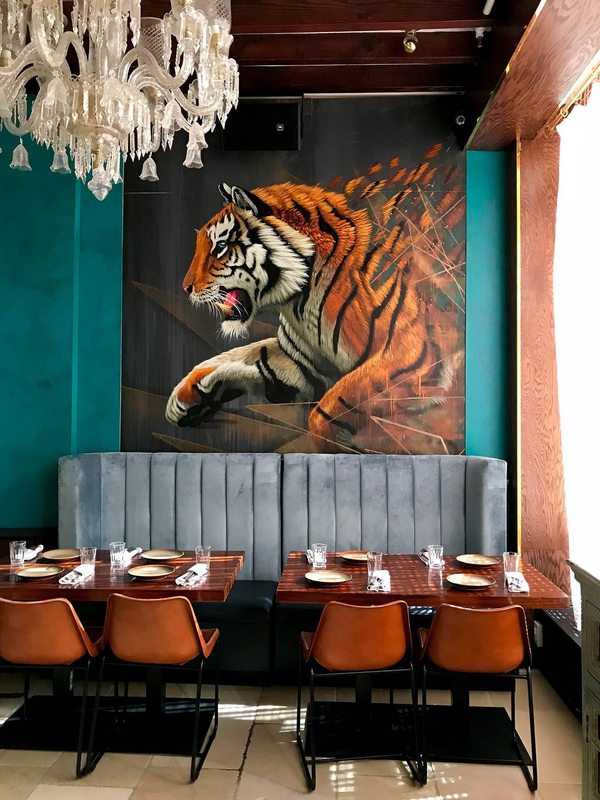 Gupshup New York Indian Restaurant Interior Decor Tiger Painting Velvet Blue Bench