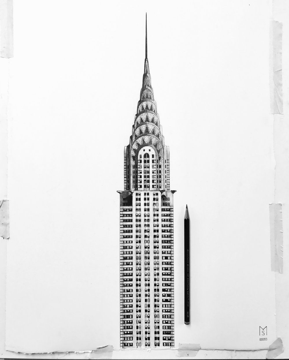 Empire State Building New York NYC Drawing Home Decor Print Art Poster A4 to A0