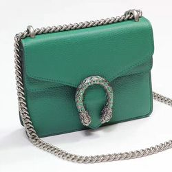 706ff201c59 Gucci Dionysus Leather Mini Bag Green 421970