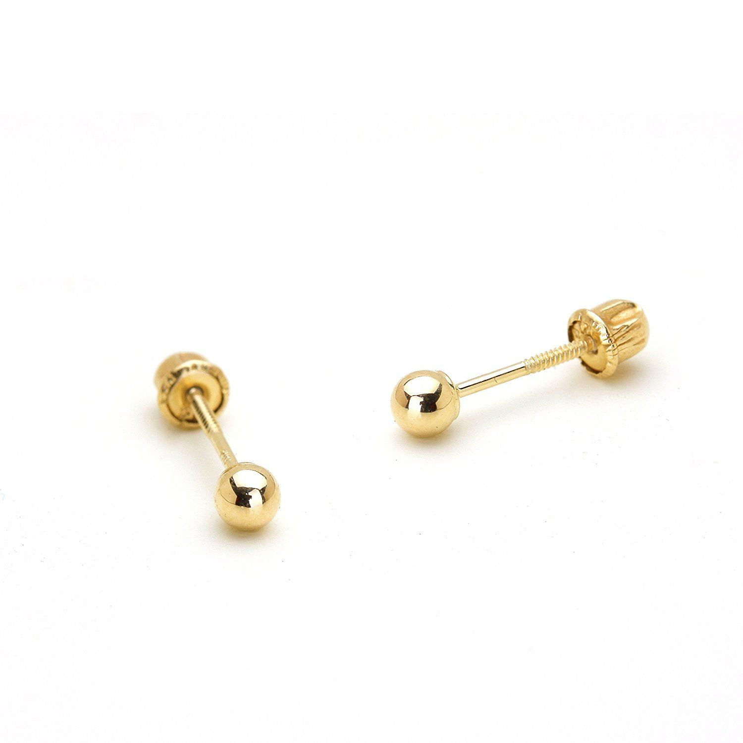 46a20f90b Amazon.com: 14k Yellow Gold 3mm Plain Hollow Gold Ball Children Screw Back  Baby Girls Earrings: Clothing