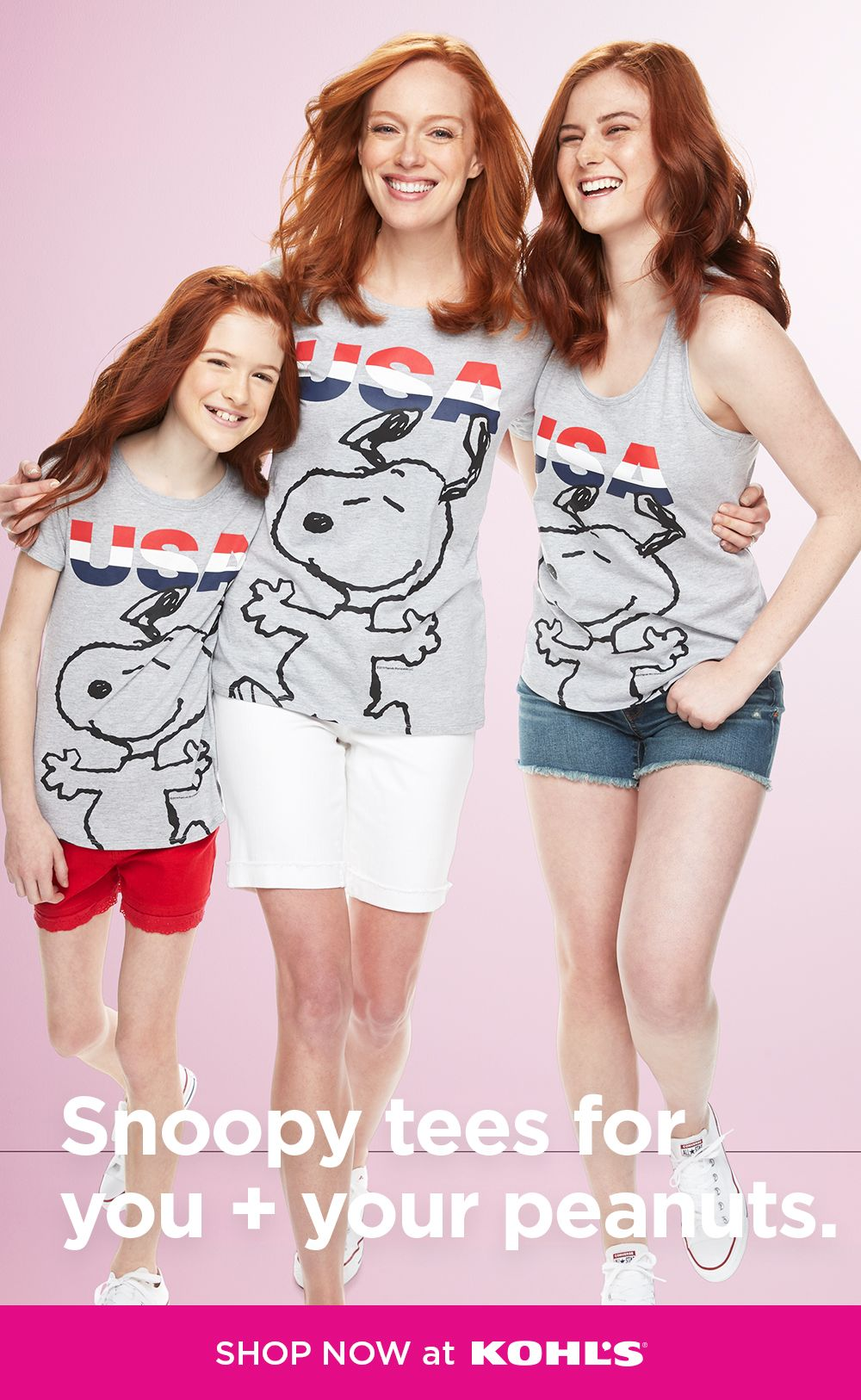 Find striped Peanuts tees for the family at Kohl's