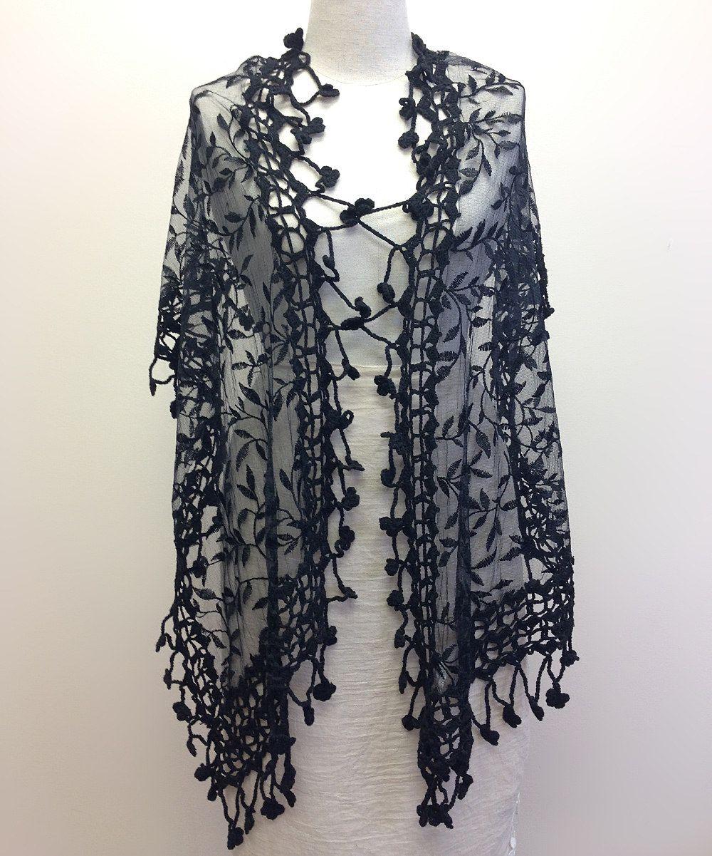 Black Floral Crochet-Trim Scarf by East Cloud 29.99