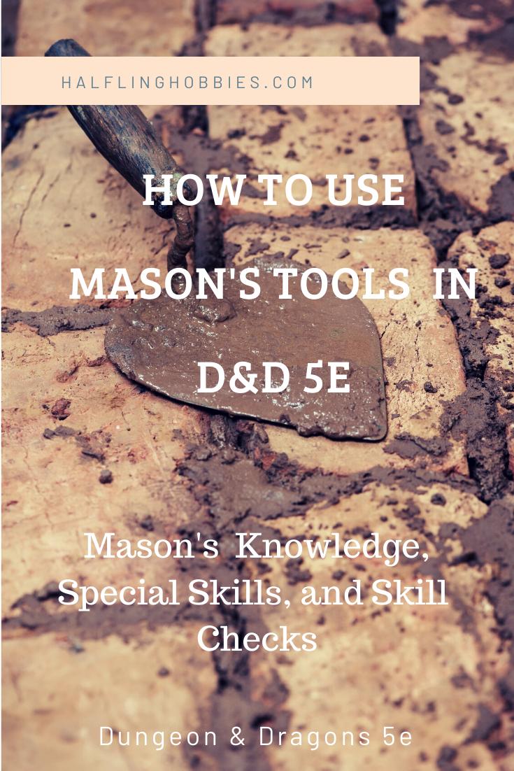 Mason S Tools D D 5e Dungeons And Dragons 5e D D List Of Tools