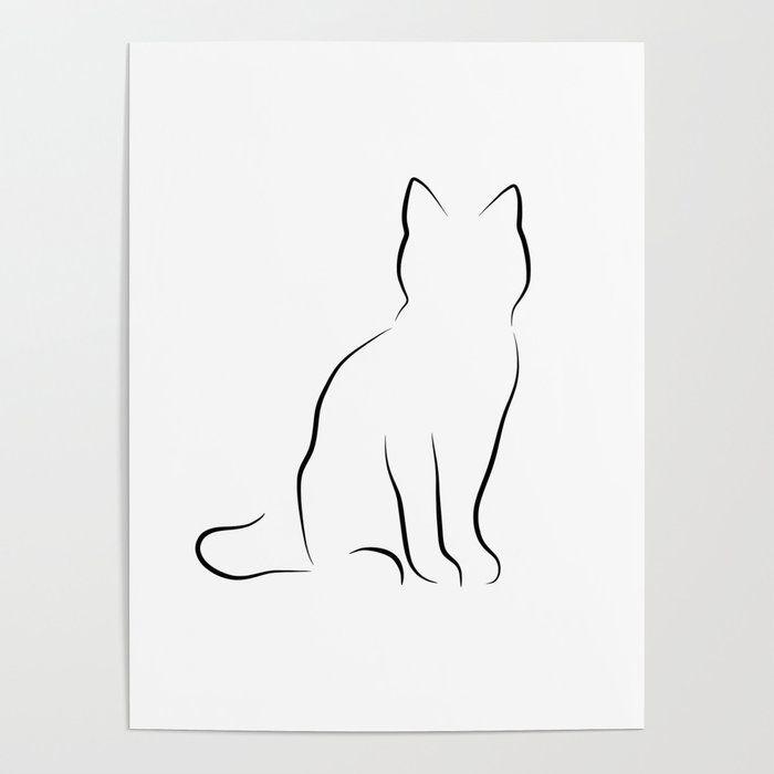 Photo of Minimalist Cat Line Drawing Poster by peachonawindowsill