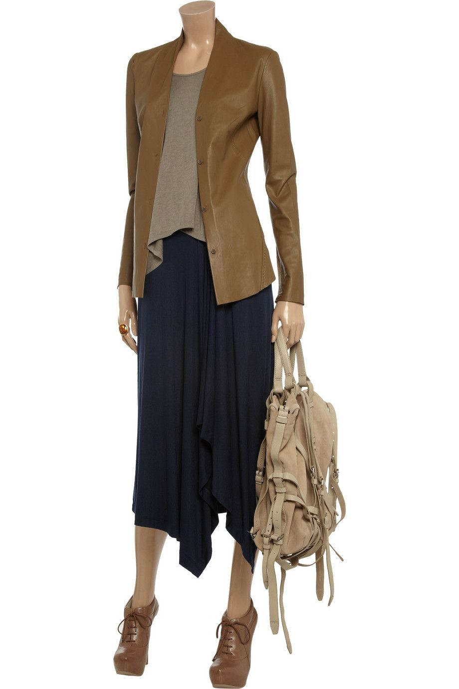 Drape-front stretch-jersey skirt by MICHAEL Michael Kors