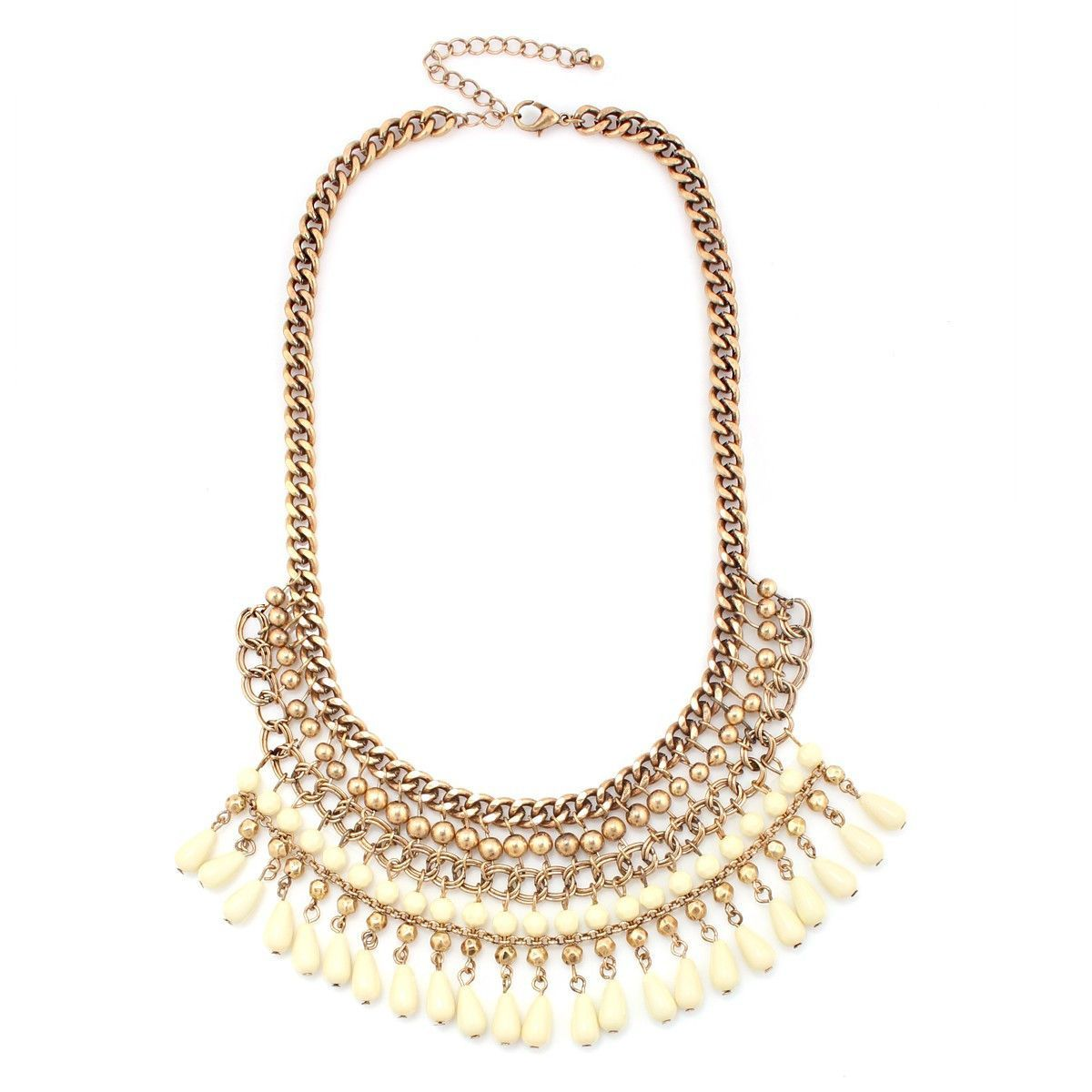 Gold-Tone Metal Creaml Ethnic Cleopatra Necklace