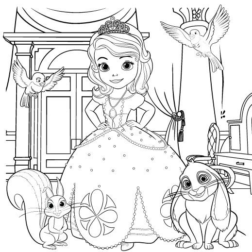 sofia the first coloring page | scene - Disney Jr Coloring Pages Print
